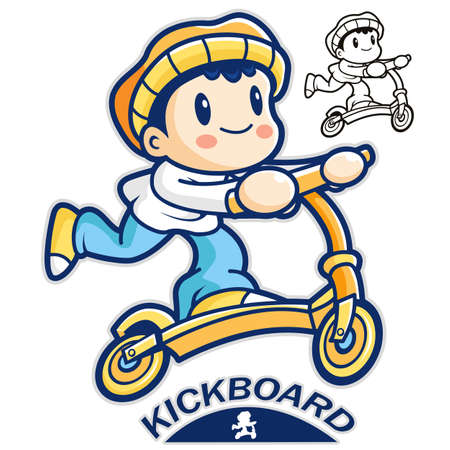 entertain: Entertain kids mascot riding Kickboards. Sports Character Design Series. Illustration
