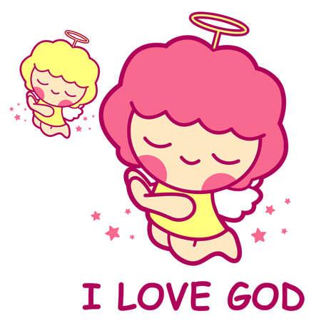 airiness: Prayer, an Angel Mascot. Angel Character Design Series. Illustration