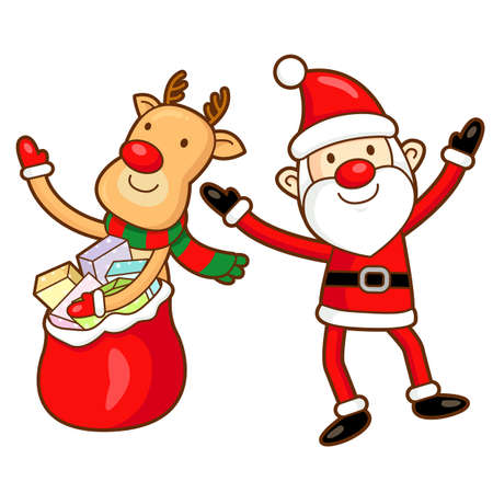commemoration day: Santa Claus and Rudolph mascot the event activity. Christmas Character Design Series.