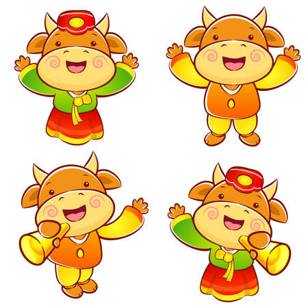 commemoration day: Korean traditional bulls Event activities. New Year Character Design Series.
