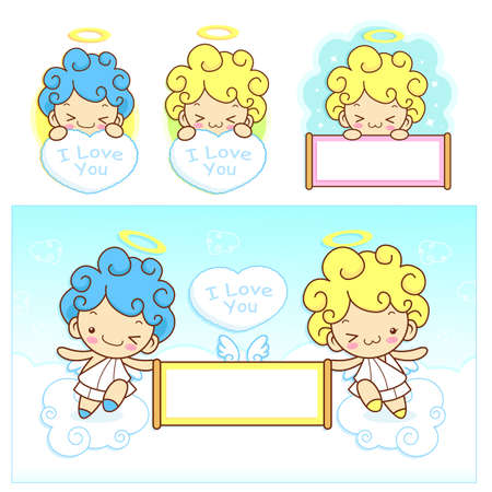 fleecy: The fun a fleecy clouds on Girls and boys Angel Mascot. Angel Character Design Series. Illustration