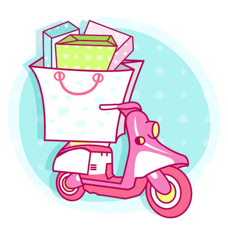 shoppingbag: Cute shape of the scooter with shopping bag Illustrations. Style Character Design Series.