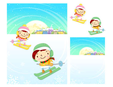 amemorial day: Boys and Girls skiing. Winter Season Character Design Series.