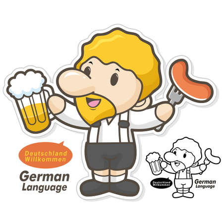 german sausage: Germany, wearing traditional costumes, the men eat beer and sausage. The department of German language and literature Illustration
