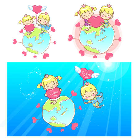 proposed: The prince proposed to Love is princess Mascot. A couple of Love Character Design Series. Illustration
