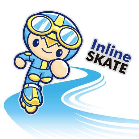 inline skating: Inline skating boy Mascot. Sports Character Design Series.