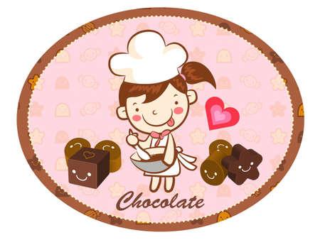 airiness: A girls Chocolatier in Making chocolate. Valentine Character Design Series.