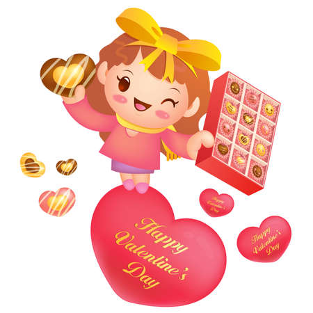 airiness: A woman Heart holding of chocolates a box. Valentine Character Design Series.