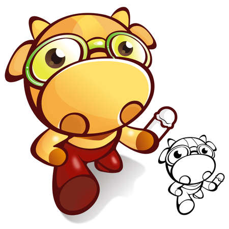 nursing bottle: A bull going to jump holding a baby bottle. an animal Character Design