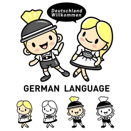 lederhosen: Men and women dressed in traditional costumes of Germany Lederhosen and Dirndl. German language Mascot. Education Character Design Series.