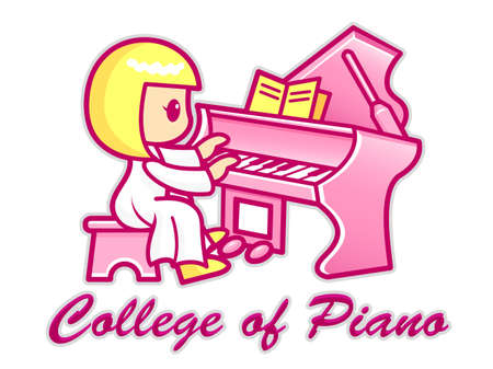 pianoforte: Women are playing a grand piano. College of Piano Mascot. Education Character Design Series. Illustration