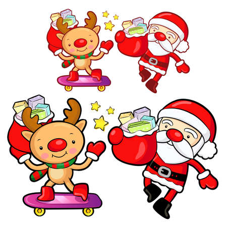 commemoration day: Santa Claus and deer mascot the event activity. Christmas Character Design Series. Illustration