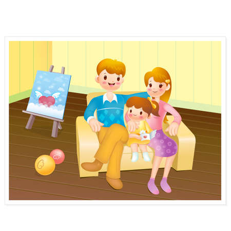 family sofa: The happy family sitting on sofa, Home Character Design