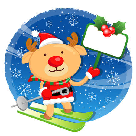 commemoration day: Rudolph mascot the event activity. Christmas Character Design Series. Illustration