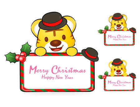 amemorial day: Tiger Santa Claus and deer mascot the event activity. Christmas Character Design Series. Illustration