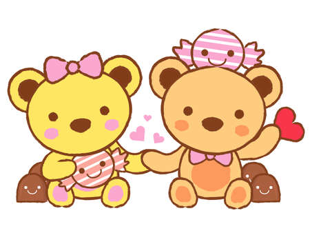 airiness: Cute teddy bear mascot and Chocolate. Valentine Character Design Series.