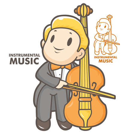 instrumental: The man playing the cello. Instrumental music Vector character Illustration