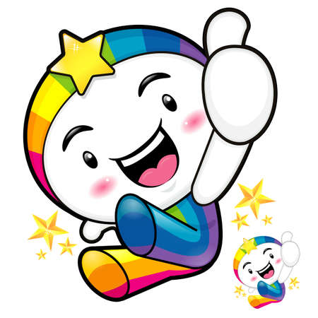 countenance: Rainbow mascot jumping. The best gesture of the right hand is taking Master Rainbow Mascot. Emblem Character Design Series.