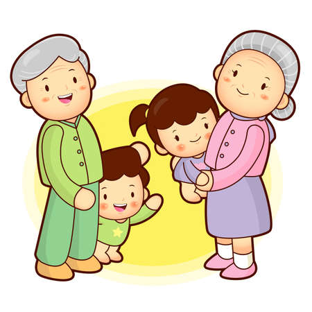 granddaughter: A Grandfather and grandmother taking care of grandchildren granddaughter