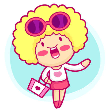 realize: Realize the it girl shopping. Style Girl Vector Character Illustration