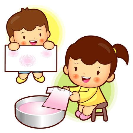 dye: Childrens dye classroom. Education Character Design