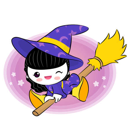 wee: Wee witch flying on broom. Halloween Vector Characters