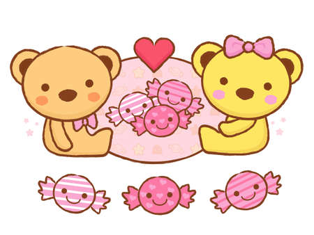 airiness: The cute a teddy bear mascot and candy. Valentine Character Design Series. Illustration
