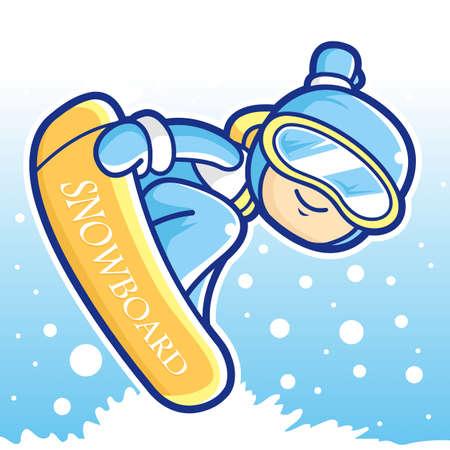 wintersports: Dynamic jump Snowboarding man mascot. Sports Character Design Series.