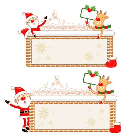 amemorial day: Santa Claus and Rudolph Mascot using a variety of banner designs. Christmas Character Design Series. Illustration
