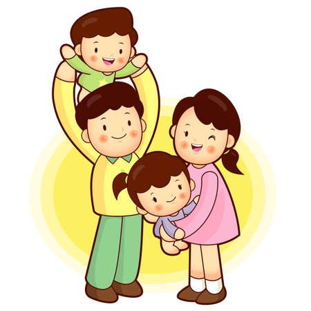 going out: A happy Family Going out. Families Character