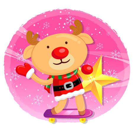amemorial day: Rudolph mascot the event activity. Christmas Character Design Series. Illustration