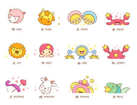 12 Zodiac Constellation Mascot Head Icon. The West Twelve zodiac Character Design Series.