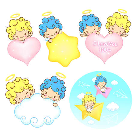 fleecy: The fun a star and fleecy clouds on Girls and boys Angel Mascot. Angel Character Design Series. Illustration