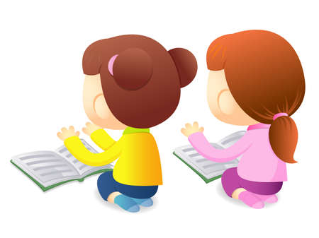 babygirl: Girls are reading a large book. Education and life Character Design series.