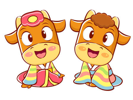 character design: Bull and Cow Mascot is a polite greeting. Korea Traditional Cultural character design series.