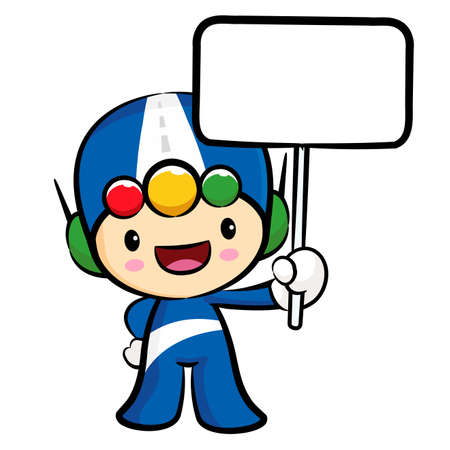 womankind: Traffic lights mascot the hand is holding a picket. Traffic and Road Character Design Series.