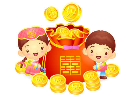 lucky bag: A boy and a girl character in a  lucky bag. Korea Traditional Cultural character design series.