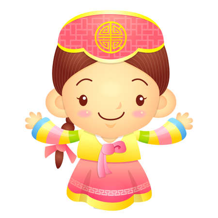 character design: Girl mascot the direction of pointing with both hands. Korea Traditional Cultural character design series.