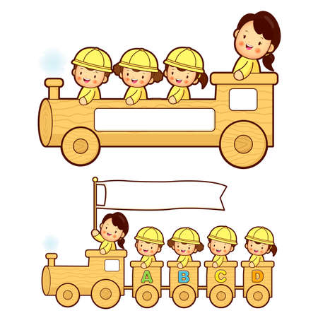 vie �tudiante: The train trip is an enjoyable kindergarten student. Education and life Character Design series. Illustration