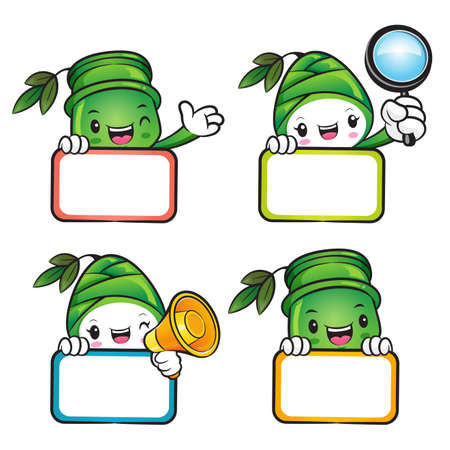 plantlife: Various styles of Bamboo and Bamboo shoot Mascot Sets. Nature Character Design Series.