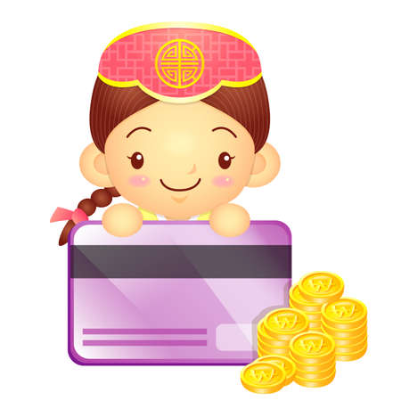 korea girl: The Girl Mascot is holding a big credit card. Korea Traditional Cultural character design series.
