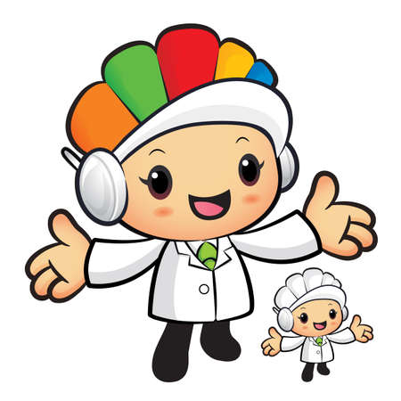 hygienist: Clinical Dietitian mascot has been welcomed with both hands. Work and Job Character Design Series. Illustration