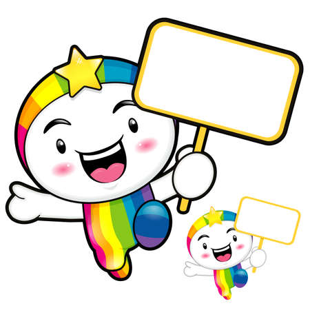 smart goals: The Rainbow mascot holding a board. Dream of Fairy Character Design Series.