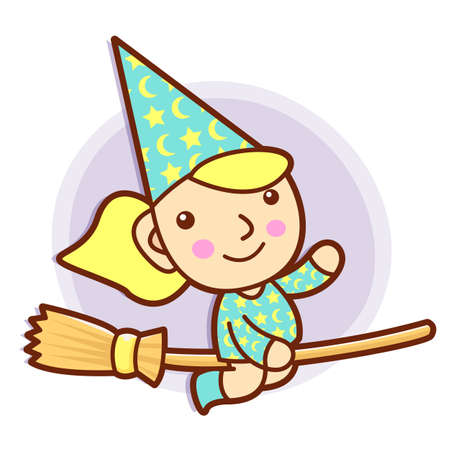 conjurer: Sorceress mascot riding a broom flies. Work and Job Character Design Series.
