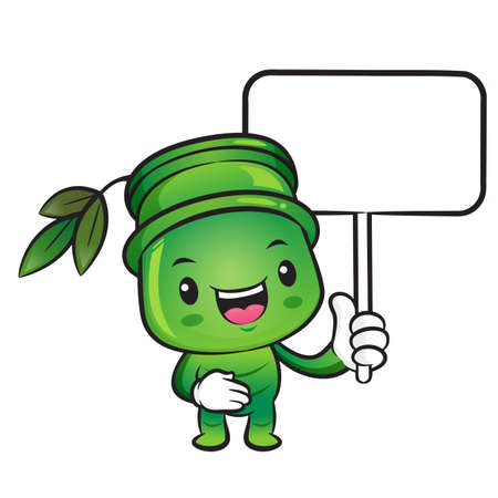 plantlife: The Bamboo mascot holding a board. Nature Character Design Series.