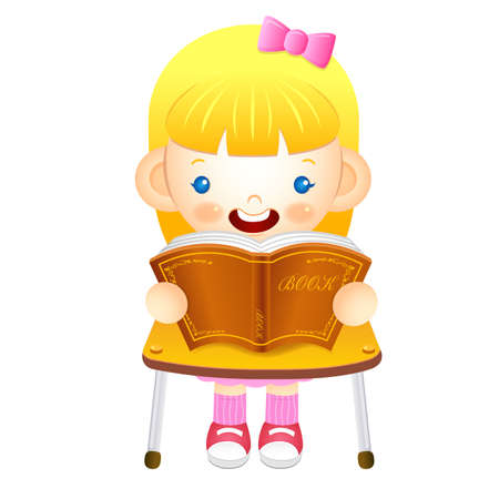 womankind: The girl sat down on the chair. Is reading a book on the desk. Education and life Character Design series.