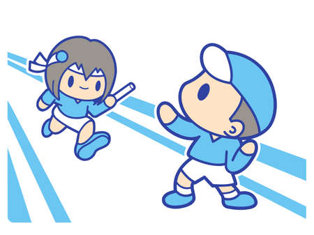 womankind: Boy and girl is playing relay race. Education and life Character Design series.