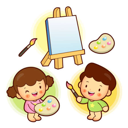 babygirl: The boy and girl is with canvas in painting. Education and life Character Design series. Illustration