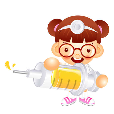 babygirl: Little doctor Kid is holding a large dice. Education and life Character Design series.