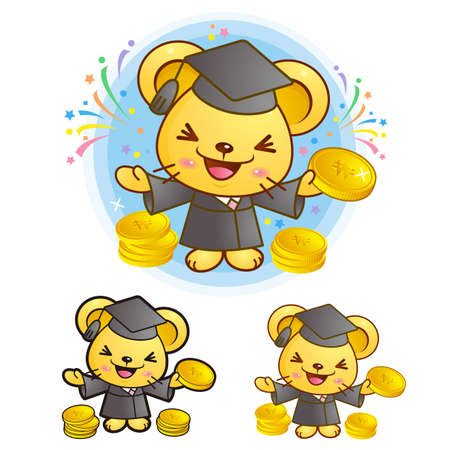 master volume: Graduation related event Mouse Mascot. Education and life Character Design series.